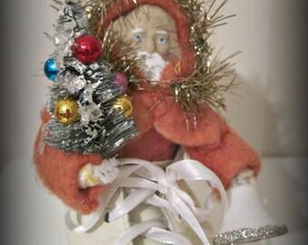 Folk art Santa Claus-- folk art - hand made doll- Christmas- Santa- red