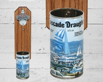 Wall Mounted Bottle Opener with Vintage Cascade Australia Sailboat Beer Can Cap Catcher