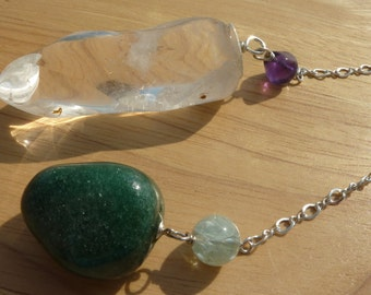 Extra Large Quartz Pendulum, Green Aventurine, Sterling Silver, Dowsing, Meditation, intuition, Healing, Divination, Reiki, Magic