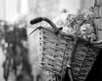 Black White Bike Print, Paris Photography, French Country, Bedroom Wall Art, Bicycle Photo, Paris Print