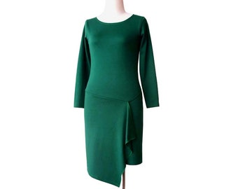 SALE Long sleeve Green Dress, Pencil dress, Womens dresses, Asymmetric jersey dress, Dress size L, Dress US 12-14, Ready to ship, Sale dress