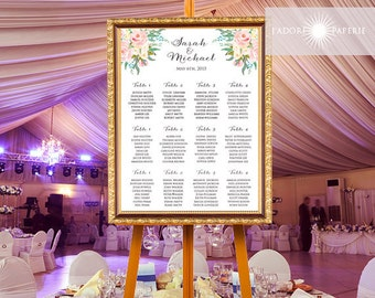 Printable Seating Chart Wedding, Seating Chart Poster, Floral Seating Chart, Digital File, Printable, Seating Chart Wedding, jadorepaperie