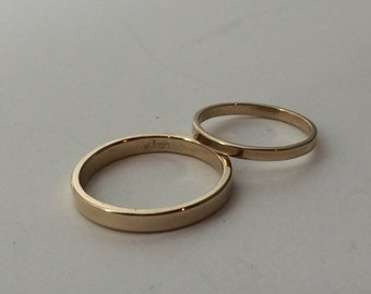 10kt or 14kt gold wedding band set, rose gold wedding bands, his and hers, pink gold band, yellow gold wedding ring,