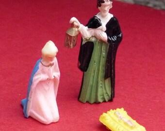 vintage miniature plastic  Mary Joseph and baby Jesus  Nativity