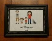 Customized Cross Stitch Family Portrait