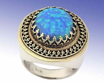 Blue opal ring, Sterling gold ring, Antique Gemstone ring, two tones ring, filigree ring, October birthstone ring - The King ring R1110EA