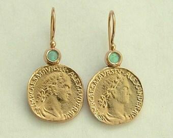 14k yellow gold earrings,  Antique Style earrings, Coin Earrings,  opal earrings, gemstone earrings, Reproduction coins - Retrospect. EG7925