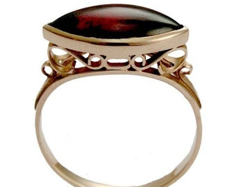 Solid Rose gold ring, Victorian ring, garnet ring, marquise ring, filigree ring, high stone ring, 14k rose gold ring - My obsession RG1215