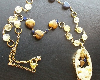 Yellow Agate Druzy with Lapis and Tigers Eye Hearts, Citrine, Swarovski Crystals-Lemon Sunshine-Extra Long Gemstone Necklace, Brown, Blue