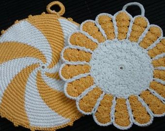 Vintage Crochet Doilies, 1970's, Kitchen Decor, Yellow Swirl, Yellow Flower, Hot Pads