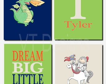 Knights and Dragons Wall Art, Kids Wall Art Baby Boy Nursery, Dream Big Little One, Initial and Name, Dragon, Toddler Boy, Set of 4 Prints