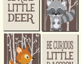 Woodland Wall Art, Woodland Decor, Baby Boy Nursery, Deer, Raccoon, Forest Animals, Be Kind, Be Curious, Set of 4, Prints or Canvas