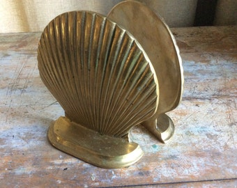 Vintage Brass clamshell Bookends Midcentury Shell library books shelving organizing 60s gold shells