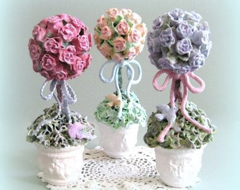 Rose Flower Topiary Tree Shabby Chic Decor Cottage Chic Decor Clay Flower Centerpiece Lavender Rose Blue Rose Purple Rose Lilac Rose Dove