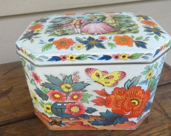 Vintage English Tin Courting Couple Fall Colors Hinged Lid Daher