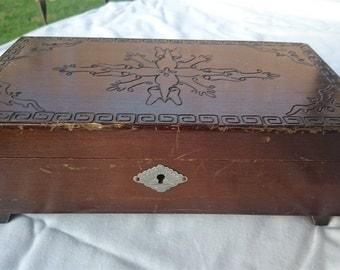 Vintage Wooden Jewelry Box 1950's - 1960's Mid Century
