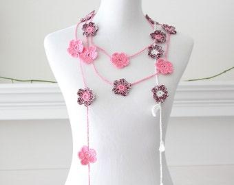 Crochet White, Coralpink Lariat, Necklace, Scarf, Scarflette