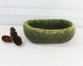 Green Brown Wool Basket, Knit Felt Storage Basket, Boiled Wool Storage Basket, Green Wool Storage Basket, Knit Felt Wool Bowl, Forest Wool