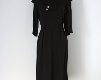 1940s Black Rayon Dress/40s Rhinestone Embelished Dress/40s Classic Black Dress/40s Ray Carter Dress