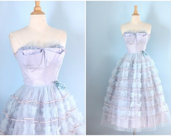 1950s tulle prom dress / 50s pale cornflower blue formal party dress / Bluebell dress