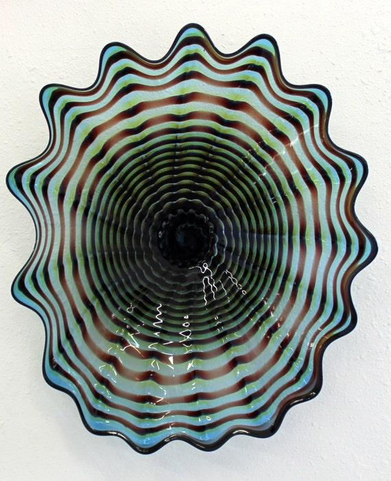 beautiful hand blown glass art wall platter bowl 6469 oneil. Black Bedroom Furniture Sets. Home Design Ideas
