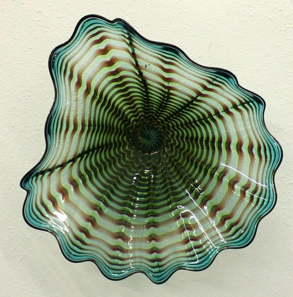 beautiful hand blown glass art wall platter spiral wrap 6482. Black Bedroom Furniture Sets. Home Design Ideas