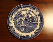 Five Vintage Blue Willow Pattern Grill Plates by Shenango China Co.