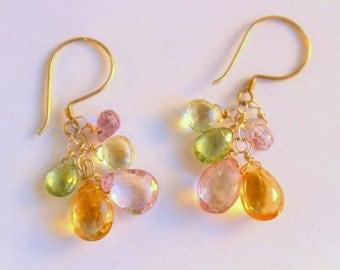 Gemstone Drop Earrings -  Peridot Drop Earrings - Citrine Drop Earrings - Quartz Drop Earrings - Gemstone Jewelry