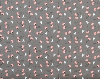 Small Peach and White Floral on Gray 100% Cotton Quilt Fabric, Dandelion in Grey, Camelot Fabrics' Make a Wish Collection, CAM2240505-3