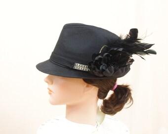 Black Fedora * Black Floral Hat * Black Hat * Womens Fedora * Trendy Hat * Fashion Hat * Vintage Fedora * Black Rose * Black Flower Hat