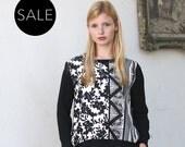 Black and white sweatshirt / floral print elegant pullover  - 30% Off