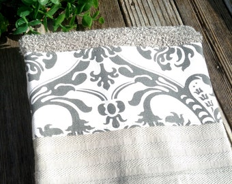 Grey towel with grey and white damask insert decorative kitchen or bath hand towel-so cute