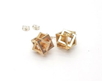 Cubed Earrings // 3d printed geometric earrings // Studs, Posts, Stick Earrings // Steel or sterling silver