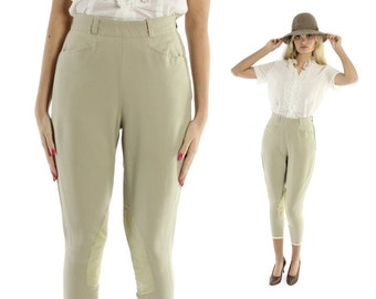 Vintage 60s Equestrian Jodhpurs Riding Pants Tan Leather High Waisted Trousers 1960s XS