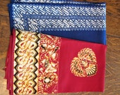 "Vintage Indian Batik Cotton, Two 23"" Sq. Pieces, Blue and White & Maroon and Yellow"
