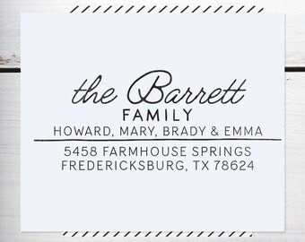 Custom Address Stamp, Christmas Stamp, Rustic Wedding address, Calligraphy Address Stamp, Self inking or Eco Mount stamp  - Farmhouse