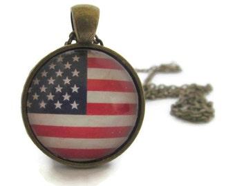 American Flag Necklace, Flag Pendant, Patriotic Jewelry, USA, Bronzed