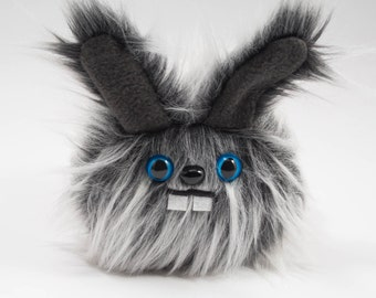 READY TO SHIP - Plush Dust Bunny.... Rabbit stuffed animal handmade in Seattle...Blue eyes