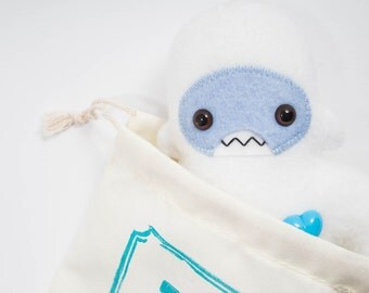 Travel adventure friend! Mini yeti plush companion... Custom monster white & light blue.