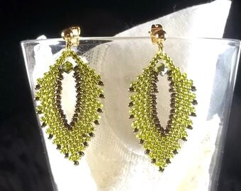 Bead Woven Russian Leaf Earrings with Swarovski Crystal in Olive Green