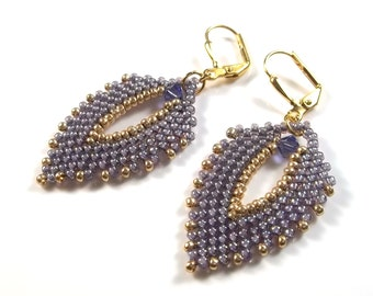 Bead Woven Russian Leaf Earrings with Swarovski Crystal in Tanzanite and Light Amethyst Seed Beads