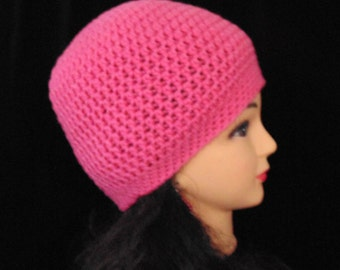 Womans Pink Crochet Beanie Hat for Winter or Spring, Womans Accessories, Teen Beanie Hat