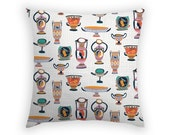 Throw Pillow Cover with Greek Pots Linen Cushion 17 x 17 Inch
