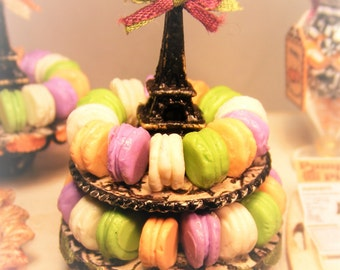 12th Scale Doll House Shabby Chic Halloween 2 Tiered Stand Of Macarons