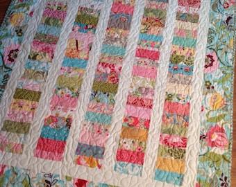 Chez Moi Lap Quilt or Baby Quilt-- Coins quilt -- vintage, floral pink, green, yellow, blue, aqua