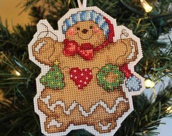 Handmade Cross Stitch Gingerbread Christmas Ornament