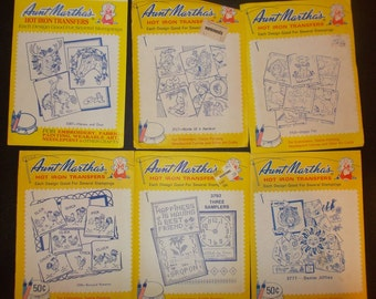 Inventory 61 Mixed Lot of Aunt Marthas Hot Iron Transfers 6 Pakcages Vintage Iron On Transfers