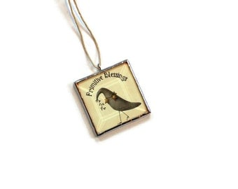 Country primitive ornament, stained glass ornament, Primitive Blessings, country crow, country home decor, gift under 20