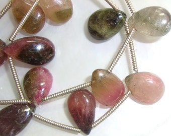 Natural Multi Color Tourmaline smooth Pear Briolette,28% off,  full Strand, a17