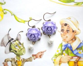 Children Earrings Flower Girl Jewelry Lavender Earrings Flower and Pearl Earrings Little Girl Earrings Kid Wedding Jewelry Rose Earrings